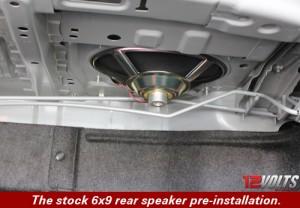Camry Audio System Installation- The stock 6x9 rear speaker pre-installation.