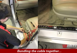 Camry Audio System Installation- Bundling the cable together.