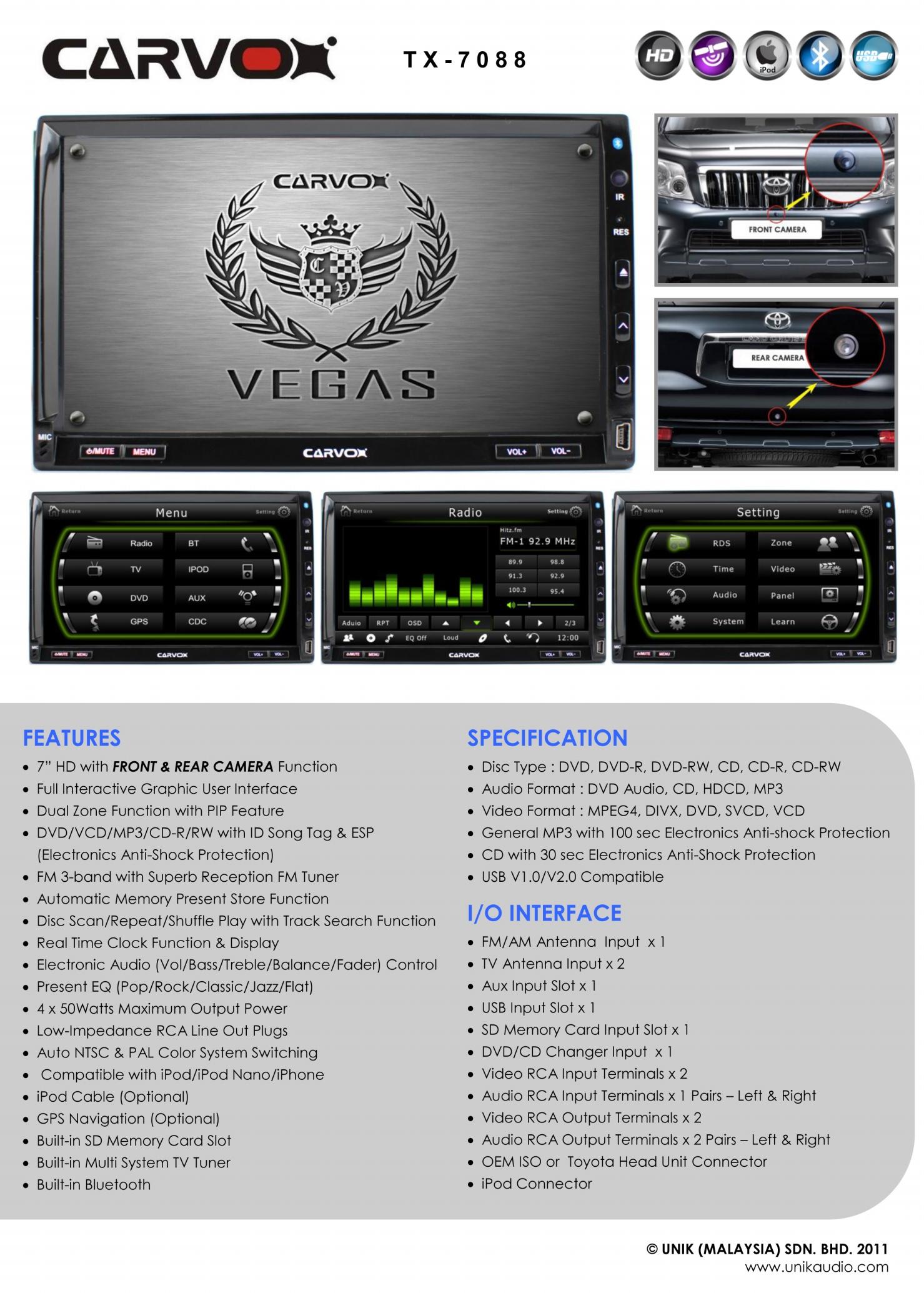 Carvox Vegas TX-7088 7 inch HD Double-Din DVD Player (GPS Upgradeable)