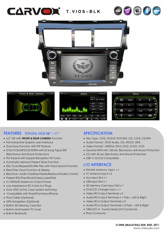 Carvox Vegas Toyota Vios Piano Black OEM Plug-N-Play 6.2 inch HD DVD Player (GPS Upgradable)