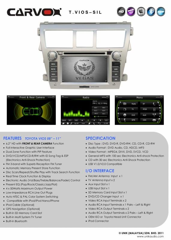 Carvox Vegas Toyota Vios Silver OEM Plug-N-Play 6.2 inch HD DVD Player (GPS Upgradable)