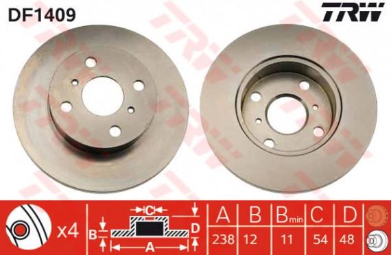 DF1409 - TRW Brake Disc Rotor for TOYOTA COROLLA EE90, AE92 (F)
