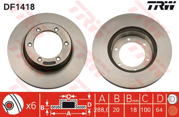 DF1418 - TRW Brake Disc Rotor for TOYOTA HILUX LN166 (F)