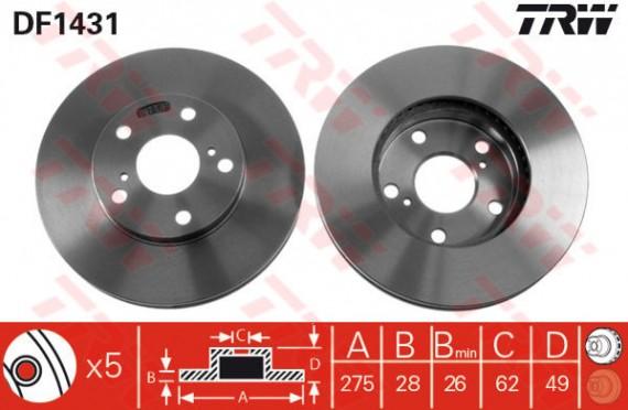 DF1431 - TRW Brake Disc Rotor for TOYOTA ESTIMA ACR30 2.4, 3.0, CAMRY ACV30 (F)