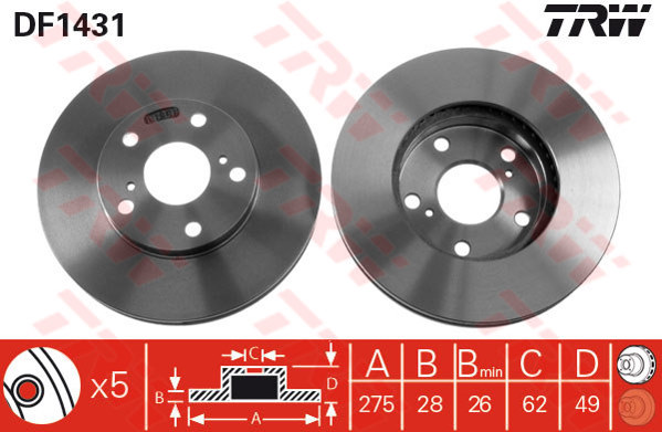 DF1431 - TRW Brake Disc Rotor for TOYOTA ESTIMA ACR30 2.4, 3.0, CAMRY ACV30 (F)