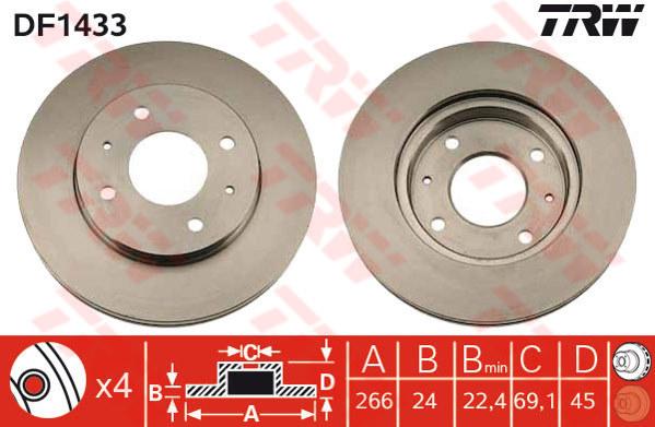 DF1433 - TRW Brake Disc Rotor for MITSUBISHI GALANT VR4, E33A