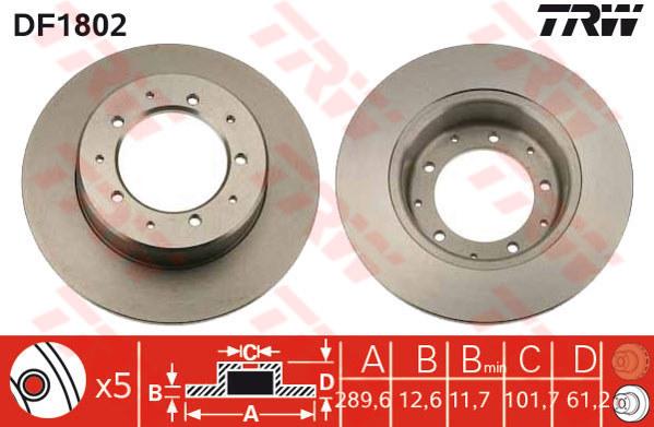 DF1802 - TRW Brake Disc Rotor for LANDROVER DEFENDER LD (R) 2.5, 3.5, 3.9