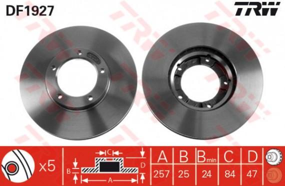 DF1927 - TRW Brake Disc Rotor for TOYOTA HILUX 2.8, LN106, HZJ75, LANDCRUISER (F)