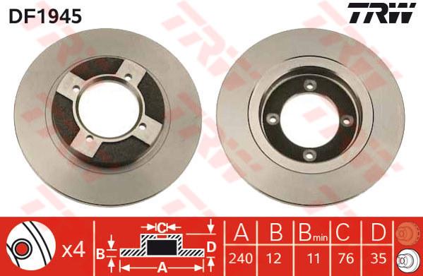 DF1945 - TRW Brake Disc Rotor for NISSAN SENTRA N13, SUNNY B11 (F)