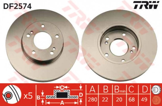 DF2574 - TRW Brake Disc Rotor for NISSAN CEFIRO A32 (F)