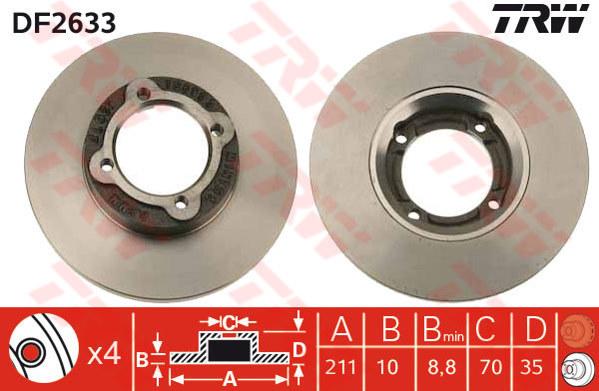 DF2633 - TRW Brake Disc Rotor for PERODUA KANCIL L200R, HIJET, S70 (F)