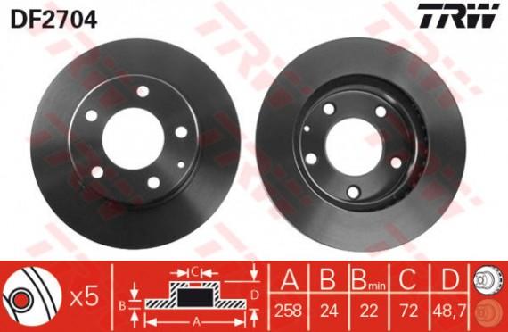 DF2704 - TRW Brake Disc Rotor for FORD TELSTAR 2.0 (F)