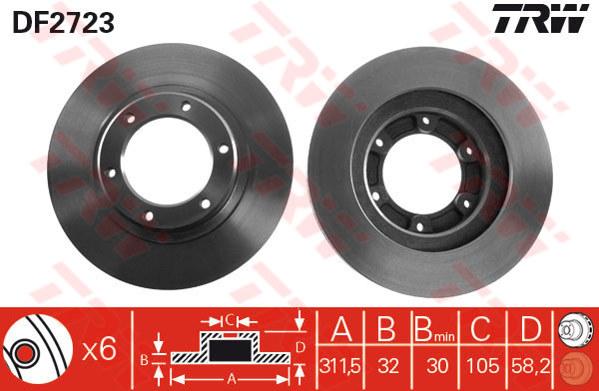 DF2723 - TRW Brake Disc Rotor for TOYOTA LANDCRUISER HZJ80, FZJ80 92-95 (F)