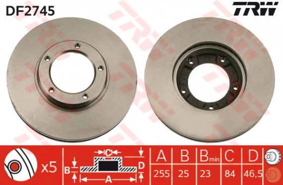DF2745 - TRW Brake Disc Rotor for TOYOTA HIACE VAN LH113, RZH112 (F)