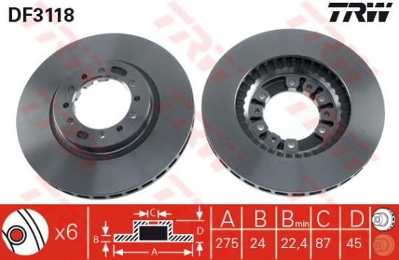 DF3118 - TRW Brake Disc Rotor for MITSUBISHI PAJERO V23, V24, STORM K74T