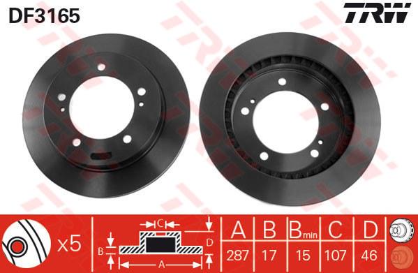 DF3165 - TRW Brake Disc Rotor for SUZUKI VITARA SE416 4-DOOR (F)