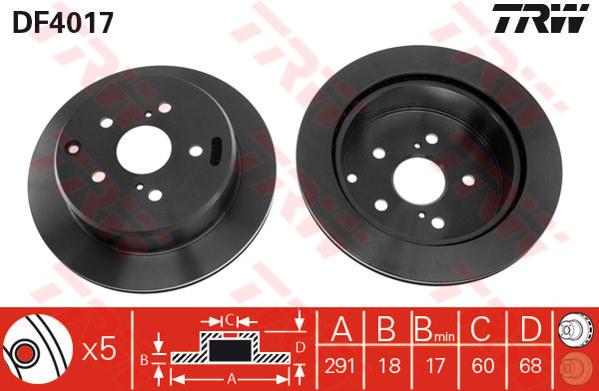 DF4017 - TRW Brake Disc Rotor for TOYOTA ESTIMA TCR (90-10) (R)