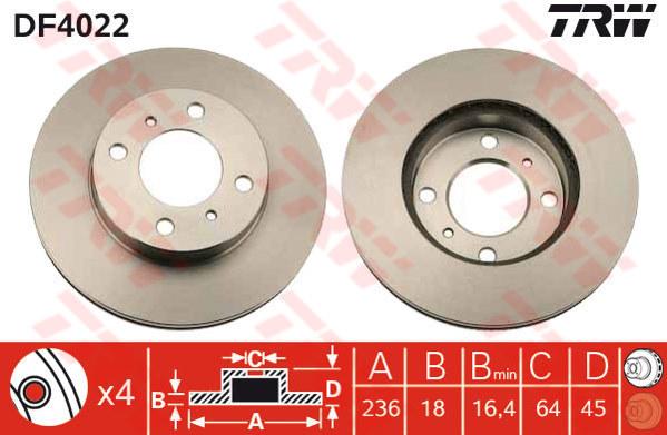 DF4022 - TRW Brake Disc Rotor for PROTON WIRA 1.5 (F)