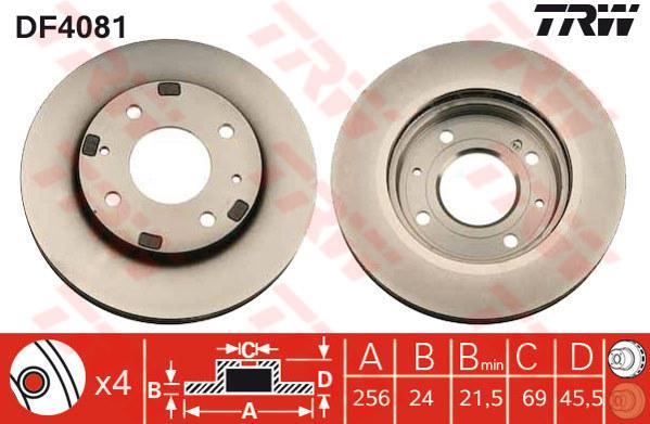 DF4081 - TRW Brake Disc Rotor for PROTON WAJA CFI 1.6, PROTON PERDANA (F)