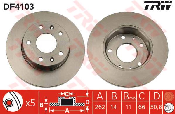 DF4103 - TRW Brake Disc Rotor for LANDROVER FREELANDER 1.8, 2.0, 2.5 (F)
