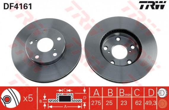 DF4161 - TRW Brake Disc Rotor for TOYOTA RAV4 NEW 4WD (F)