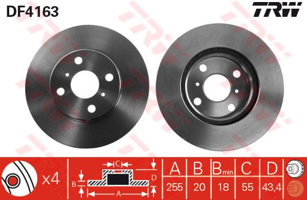 DF4163 - TRW Brake Disc Rotor for TOYOTA VIOS 1.5 (F)