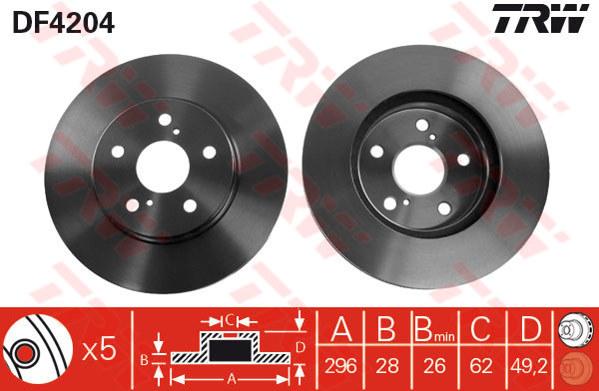 DF4204 - TRW Brake Disc Rotor for TOYOTA CAMRY ACV40, ALPHARD (F)