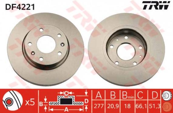 DF4221 - TRW Brake Disc Rotor for LANDROVER FREELANDER 1.8, 2.0, 2.5 (F)