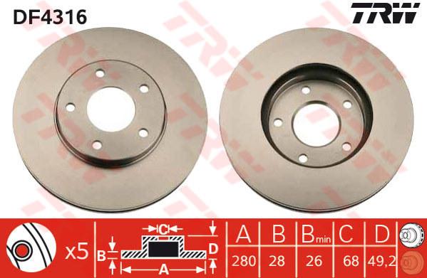 DF4316 - TRW Brake Disc Rotor for NISSAN X-TRAIL T30 2.0, 2.5, CEFIRO A33 (F)