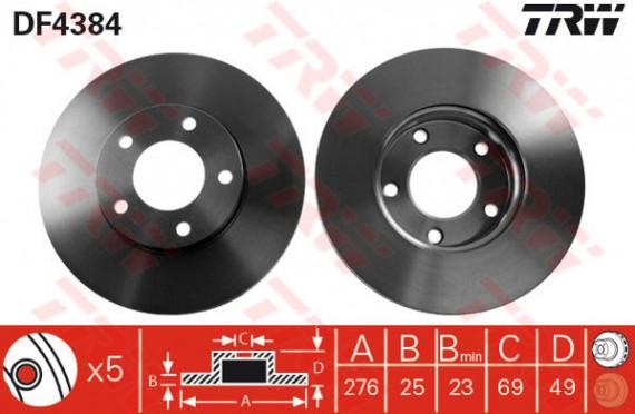 DF4384 - TRW Brake Disc Rotor for MAZDA 3, MAZDA 5, PREMACY (F)