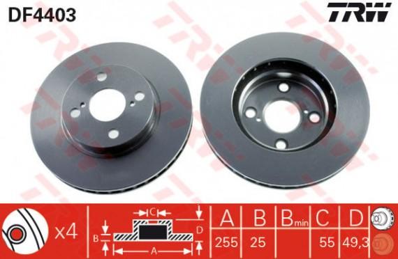 DF4403 - TRW Brake Disc Rotor for TOYOTA COROLLA ALTIS 1.8 (F)