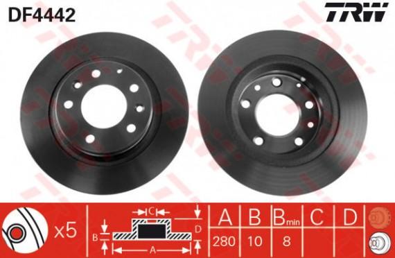 DF4442 - TRW Brake Disc Rotor for MAZDA 6 (R)