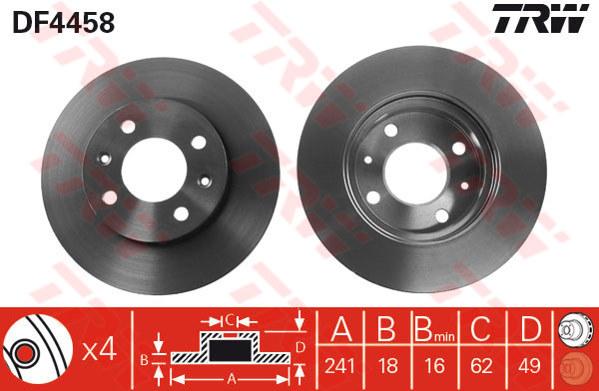 DF4458 - TRW Brake Disc Rotor for KIA PICANTO (F)