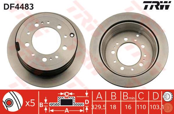 DF4483 - TRW Brake Disc Rotor for TOYOTA LANDCRUISER NINJA KING EK100 (R)