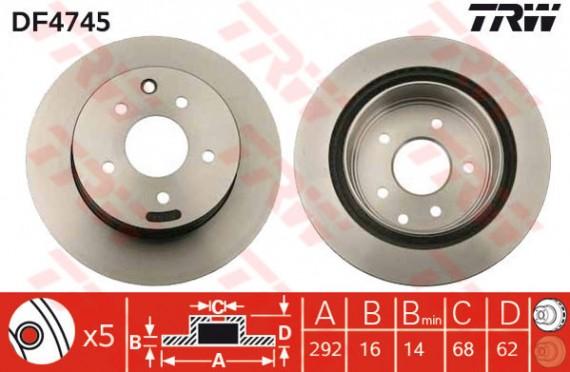 DF4745 - TRW Brake Disc Rotor for NISSAN X-TRAIL T30 2.0, 2.5 (R)