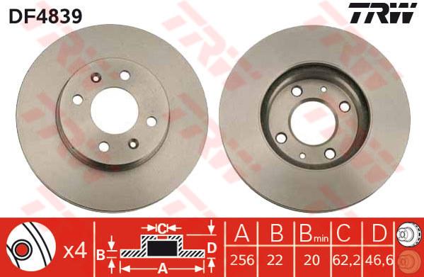 DF4839 - TRW Brake Disc Rotor for KIA RIO 1.4, 1.6 HYUNDAI ACCENT (F)
