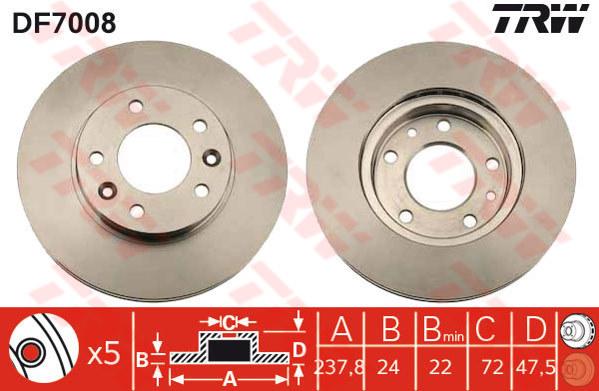 DF7008 - TRW Brake Disc Rotor for KIA CARNIVAL, NAZA RIA MPV (02-ON) (F)