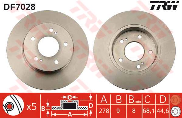 DF7028 - TRW Brake Disc Rotor for NISSAN CEFIRO A32 2.0, 3.0 (R)