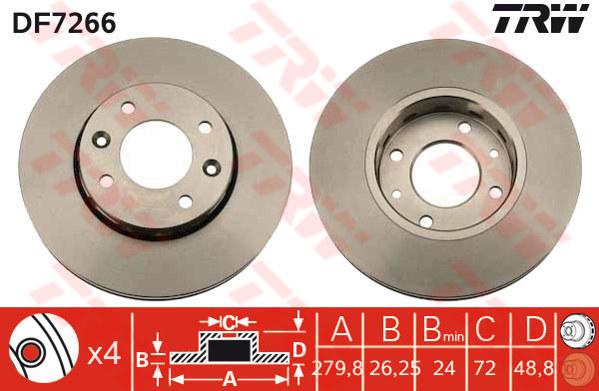DF7266 - TRW Brake Disc Rotor for KIA CARENS EX 1.8 (03-ON) (F)
