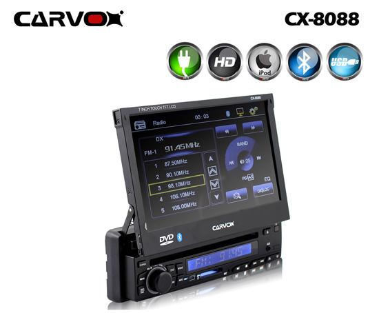Carvox CX-8088 In-Dash DVD Multimedia AV Receiver with Bluetooth, USB, SD